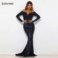 Joyfunear Off Shoulder Sequin Sexy Summer Dress Women 2019 New Mermaid Bling Bodycon Maxi Dress Elegant Party Dresses Vestidos