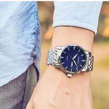 GUANQIN Luxury Brand 2018 New Men Quartz Watch Silver Bussiness Stainless Steel Wristwatch Mens Fashion Clock relogio masculino