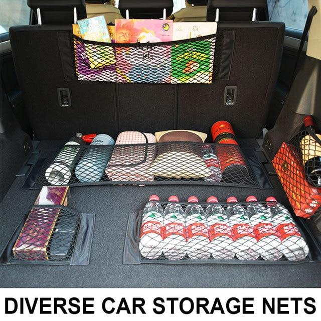Car Accessories Mesh Trunk Organizer Net Nylon SUV Auto Cargo Storage Mesh Holder Universal For Cars Luggage Nets Travel Pocket