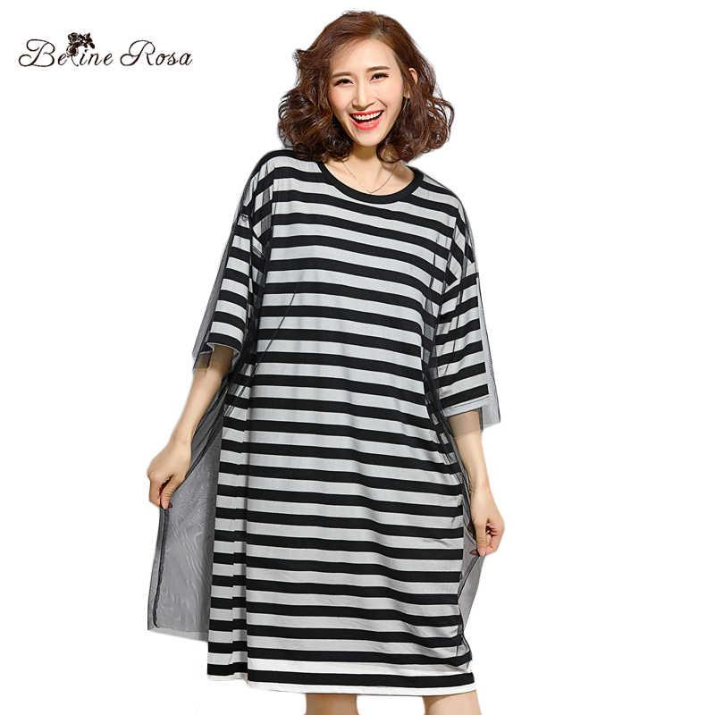 BelineRosa Large Size Women Clothes Casual Striped T-shirts Dresses False 2  Pieces Mesh Shirt d1730e610c86