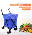 Shopping Basket Market Trolley Foldable Rolling Luggage Cart Bag 41*45*93cm