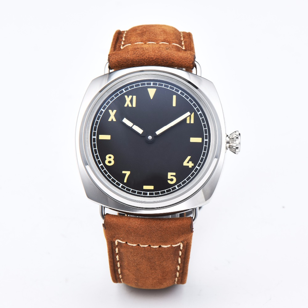 Parnis 47mm black dial mechanical movement 316L stainless steel case high quality leather strap 6497 watch 58-4Parnis 47mm black dial mechanical movement 316L stainless steel case high quality leather strap 6497 watch 58-4
