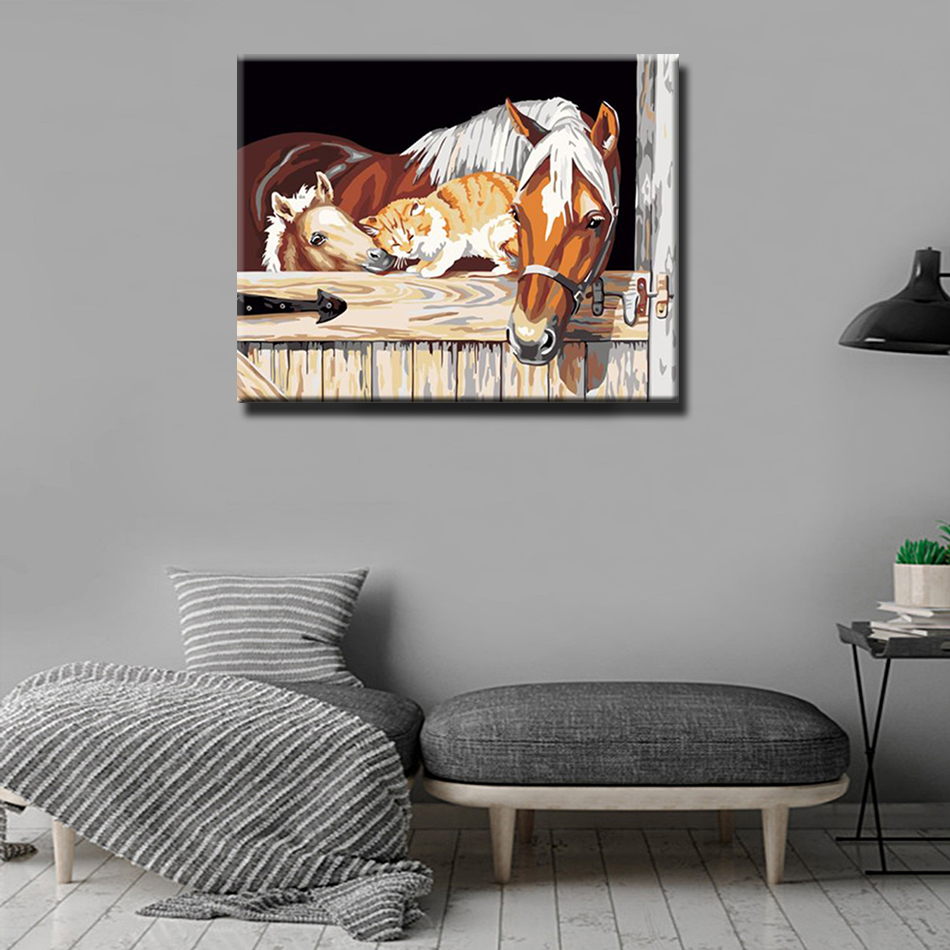 WEEN DIY Painting By Numbers For Animal Acrylic Paint Canvas Painting Wall Decor Picture Paint By Numbers kit 16x20inch Horses in Painting Calligraphy from Home Garden