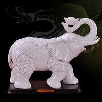 Дэхуа белый 11 дюймов удачи керамические Слоны керамические украшения дома ремесла керамика
