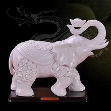 Dehua white 11 inch good luck ceramic elephants decoration home handicrafts ceramics