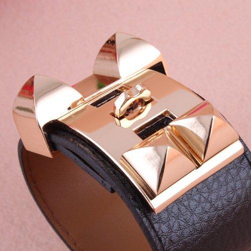Women Vintage Metal Studs Pyramid Faux Leather Loop Charm Bangles Bracelet Cuffs