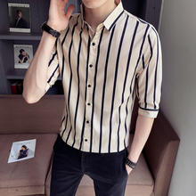 LOLDEAL Summer Black White Striped Shirt Men Half Sleeve Slim Fit Casual Male