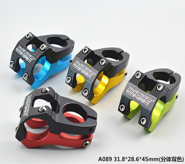 Free shipping Aluminium Alloy CNC Mountain Road Cycling Stem MTB Bike Bicycle Handlebar Stem 31.8*28.6*45MM  4 color