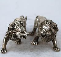 Редкий Старый династии Цин серебряная статуя/скульптура пара льва, резные украшения, ремесла ручной работы, коллекция и украшения