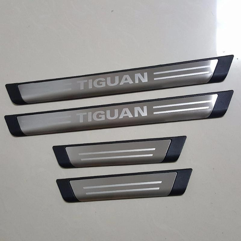 Car Styling Accessories For Vw Volkswagen Tiguan Mk2 2009-2016 Stainless Door Sill Cover Trim Scuff Plate Protectors Car Sticker fit for volkswagen vw tiguan rear trunk scuff plate stainless steel 2010 2011 2012 2013 tiguan car styling auto accessories