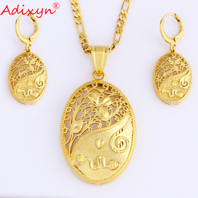 fc6f1b66a03 Adixyn New Ellipse Necklace/Earrings/Pendant Jewelry Set Gold Color Ethnic  Jewelry For Ladies
