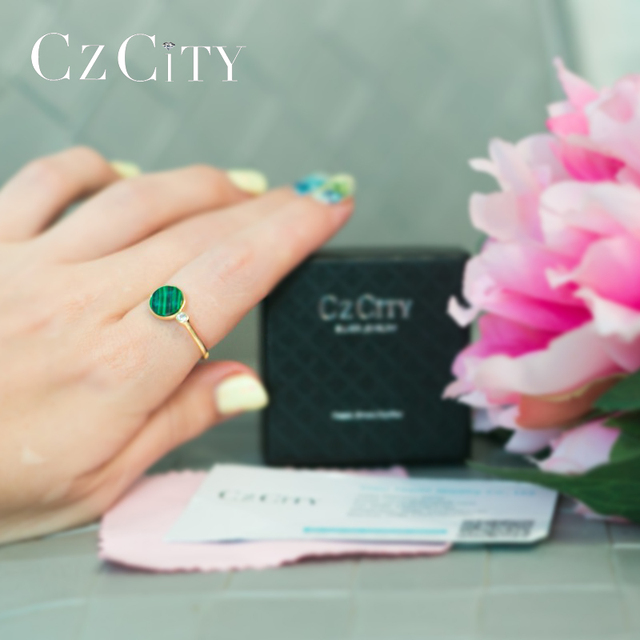 CZCITY 925 Sterling Silver Round Malachite Rings for Women Wedding Party Luxury CZ 18k Plated Green Romantic Female Jewelry Gift 1