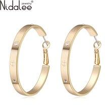2016 Luxury Big Round Button Earrings For Women Crystal From Swarovski 18K Rose Gold Plated Zircon CZ Dangle Earrings Jewelry