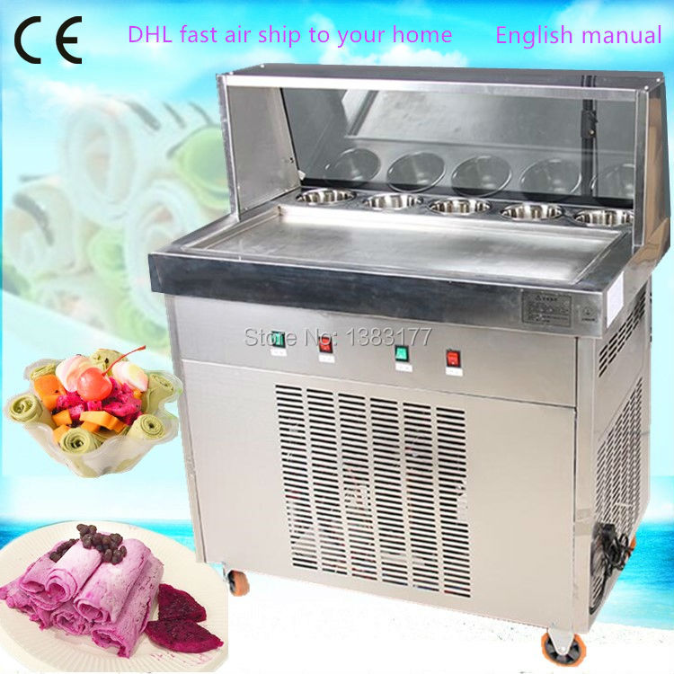 Free air ship to your home CE R410 R404 220V  frying ice machine fry ice pan machine fried ice cream rolls machine 2017 single pan fried ice cream machine stainless steel fried fry frying ice roll machine ship by air to your home with cover
