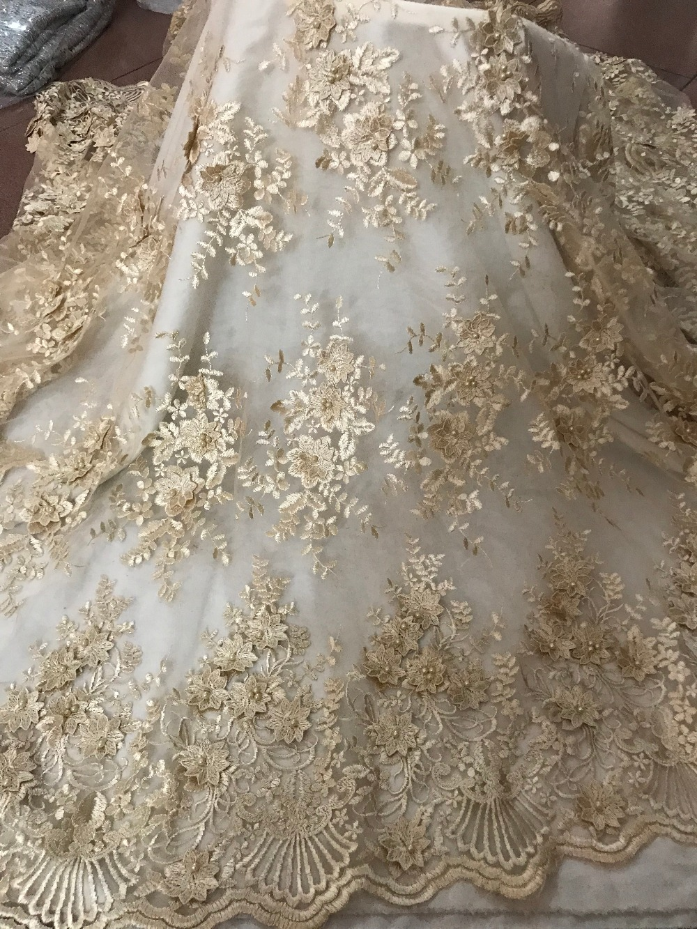 Fashion 5 yards David 6122 Nigeria Lace Fabric African Tulle French Fabric Embroidered Tulle Fabric