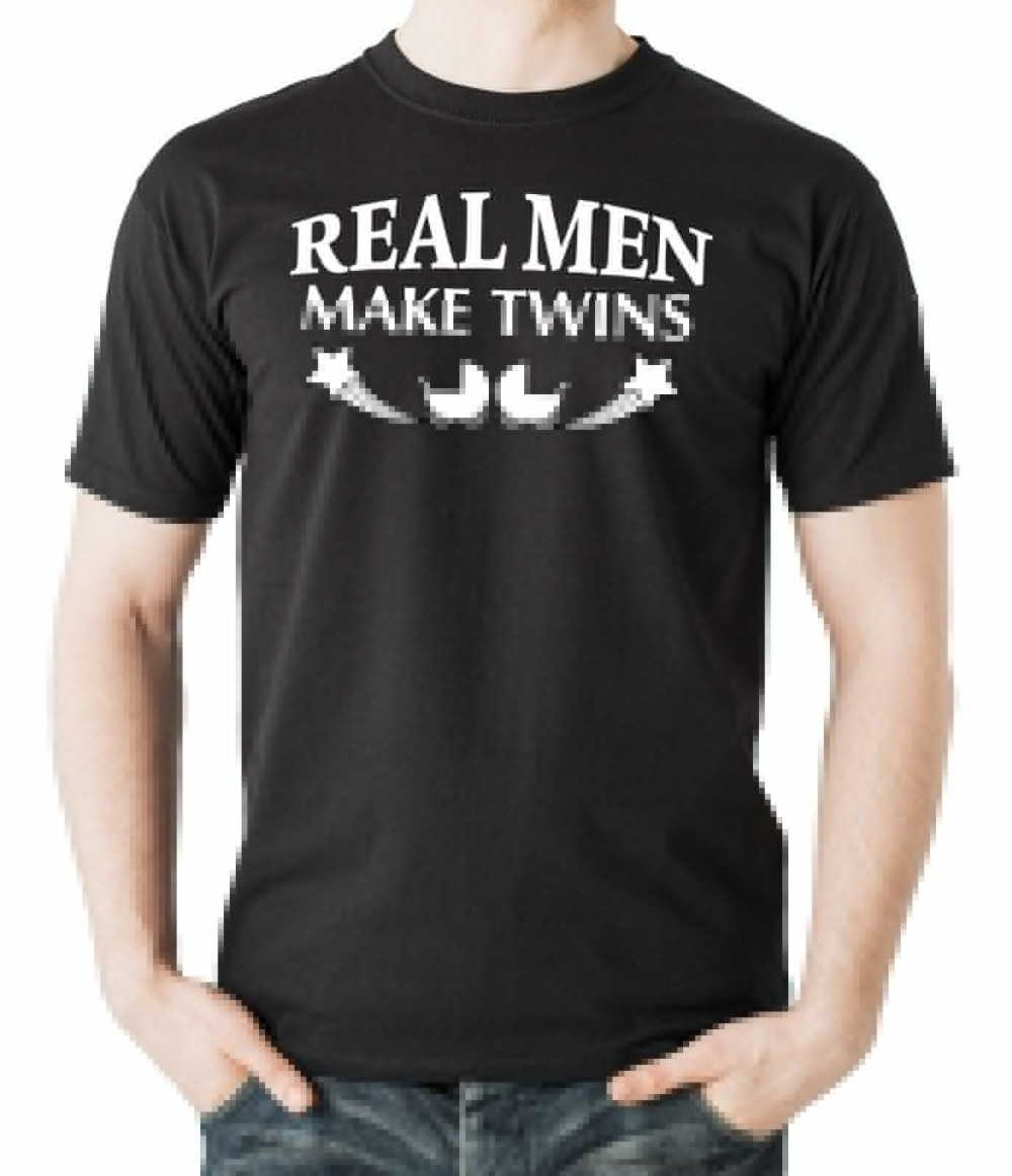2018 Designs Mens T Shirt Summer style Real Men Make Twins T Shirt Funny Gift For New Father Dad FatherS Day T shirt