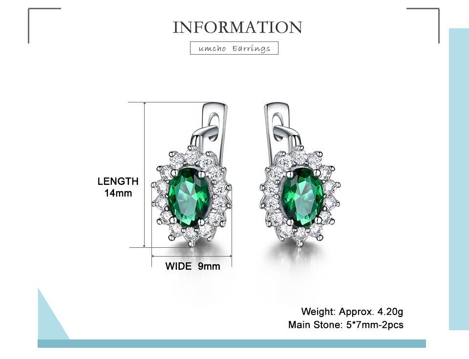 HTB1Jbwkbo rK1Rjy0Fcq6zEvVXaP UMCHO 925 Sterling Silver Earrings Gemstone Created Emerald Clip Earrings For Female Birthday Anniversary Gifts Fine Jewelry