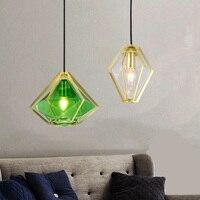 Простая Переливающаяся Стекло подвесной светильник современный зеленого и белого цветов Подвесная лампа Nordic ресторан, ручной стержень, дл