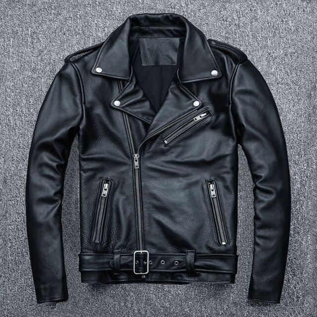 MAPLESTEED classique Moto vestes hommes veste en cuir 100% peau de veau naturel épais Moto veste homme Biker manteau hiver M192 2
