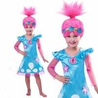 Everweekend Girls Troll Dresses Wig Set Children Costumes For Girls Carnival Kids Costumes Summer Girl Dress