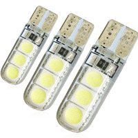 YSY 100pcs Silicone Shell White LED Car Reading Lamp T10 5050 6SMD Auto Replacement Parts Car