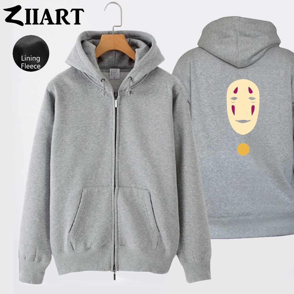 Faceless hiçbir yüz adam maskesi Miyazaki Hayao ruhların kaçışı erkek erkek tam Zip sonbahar kış polar kapüşonlu ceket ceketler ZIIART