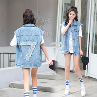 Sleeveless Denim Jeans Vest BF Boyfriend Loose Style Beads Jeans Vest for Women Ladies