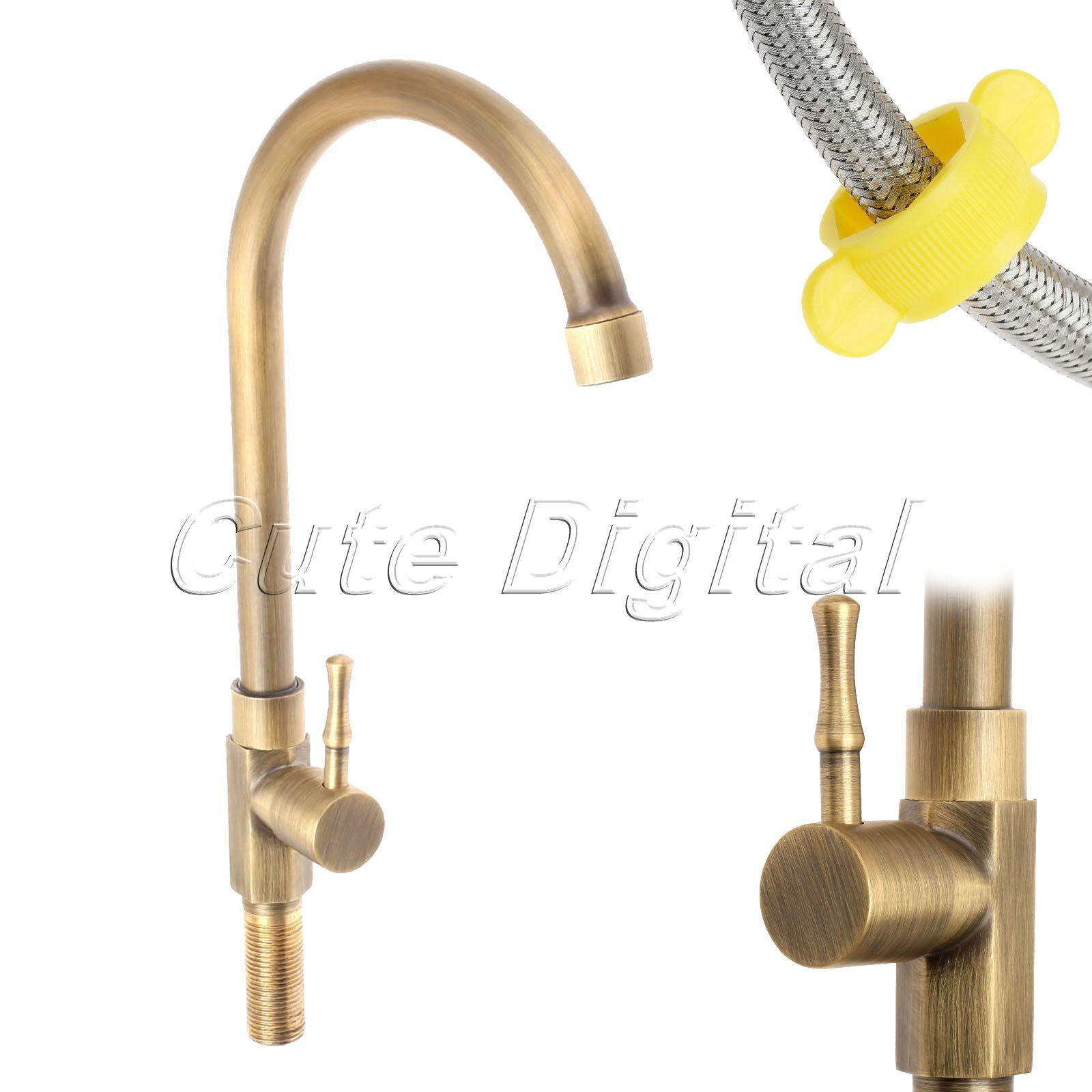 Antique Brass Luxury Bathroom Sink Faucet Single Handle Swivel