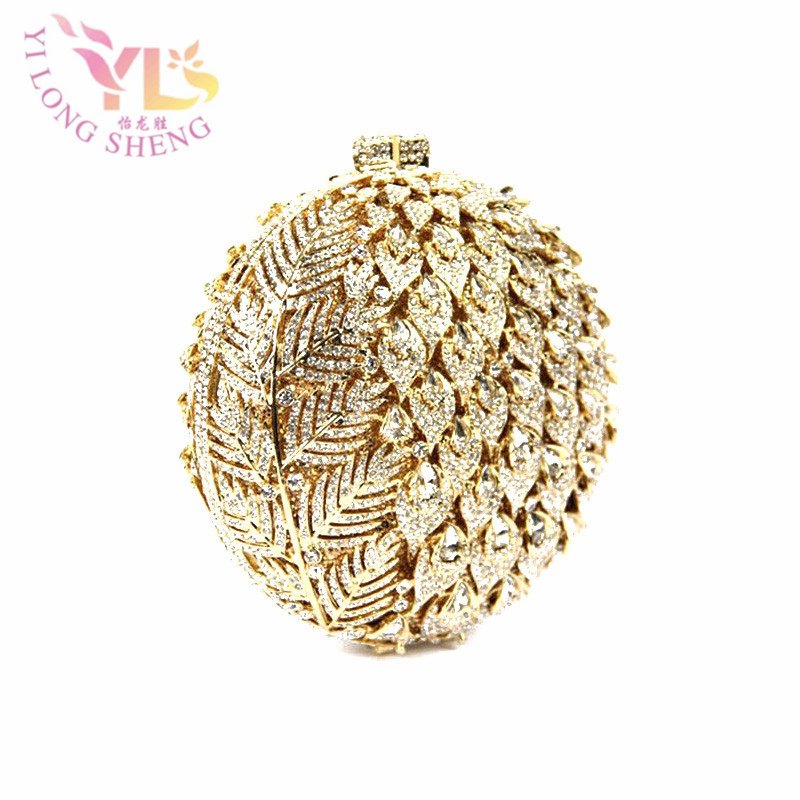 Gold Ball Crystal Clutches Flower Design Small Evening Purses Wedding/Special Occasion Clutch/Evening Handbags Clutches YLS-F92