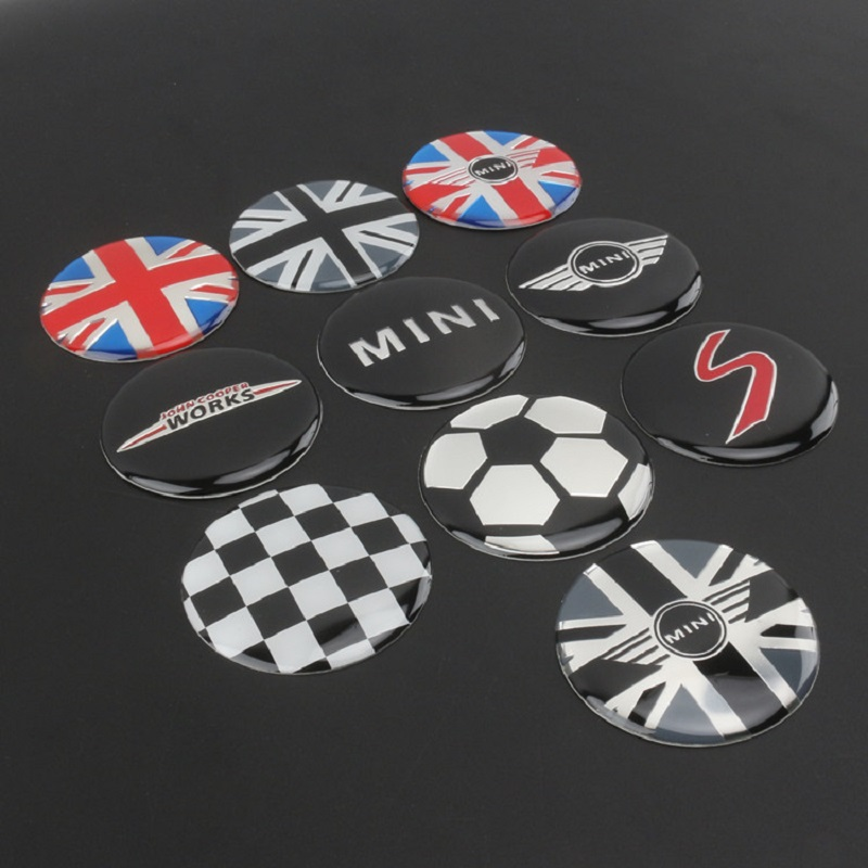 Image 3 - 4pcs/set 52mm Wheel Center Cover stickers Mini Cooper S one JCW clubman countryman R50 R52 R55 R56 R57 R58 R59 R60 car styling-in Car Stickers from Automobiles & Motorcycles