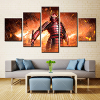 5 Panel Modern Home Art Wall HD Picture Canvas Printings Living Room Decoration Theme Armor Red