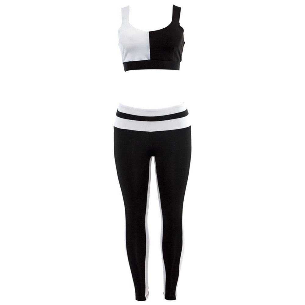 Frauen Sportswear Trainingsanzug Frau Fitness Gym Set Yoga Anzug Weibliche Kostüm Sport Top + Leggings Lauf Workout Kleidung Schwarz Weiß