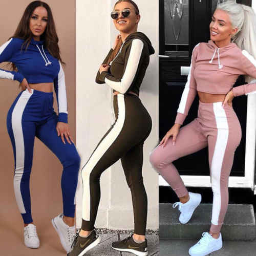 Casual Women Sets 2018 New Ladies Tracksuit Set 2pcs Pullover Hooded Crop  Tops+Stripes Side f3cae7151
