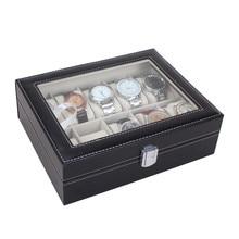 2016 Новая Кожа 10 Слоты Наручные Часы Держатель Дисплея Ящик Для Хранения Организатор Дело Люксовый Бренд Женщины Мужчины Часы Коробки