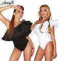 Awaytr Spring Draped Bodysuit Women Ruffle Short Sleeve Bodysuits Black White Sexy Rompers Womens Jumpsuit Combinaison Femme