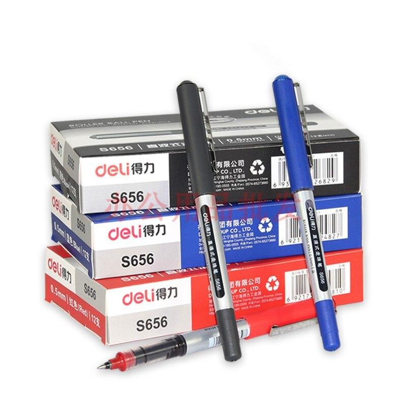 12PCS Special Offer DELI S656 Gel Pen Liquid Ballpoint Pen 0.5mm Black Gel Pen Signing Pen12PCS Special Offer DELI S656 Gel Pen Liquid Ballpoint Pen 0.5mm Black Gel Pen Signing Pen