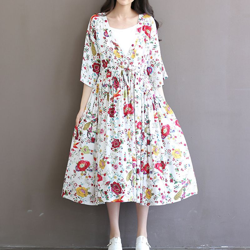 New Arrival Maternity Clothes Dresses for Pregnant Women Loose Clothing Maternity Fashion Flower Print Cotton Pregnancy Dress