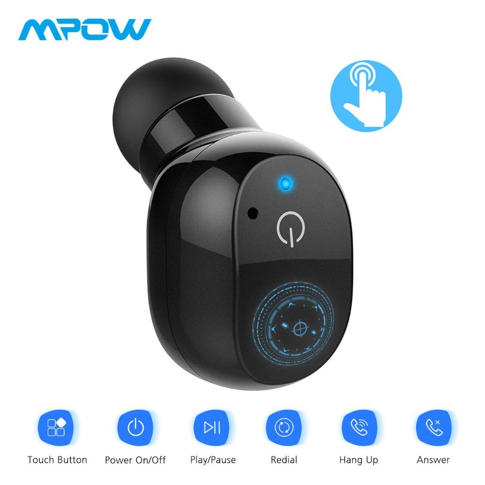 Mpow EM12 Mini Bluetooth V4.2 Earbud Single Wireless Earphone Touch Control Earbud With Mic&EVA Carrying Case For Driver/Trucker linhuipad wholesale 500pcs single mini earbud mono earphone disposable earbuds 1 bud earphone