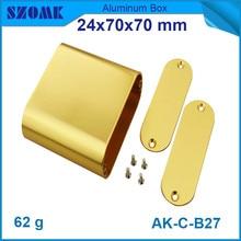 hot selling golden aluminum box (4pcs) electronics aluminium material junction housing 24*70*70mm