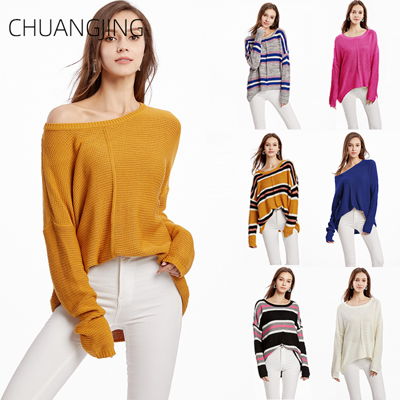c80a1772d55 Casual Knitted Sweater Women 2019 Winter O neck Long Sleeve Striped ...