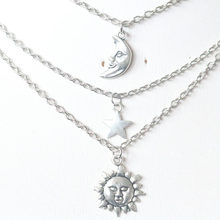 Vintage Double Layer Necklaces Sun Moon Star Pendant Necklace For Women Christmas Gifts Choker Collier Bijoux Silver Charms(China)