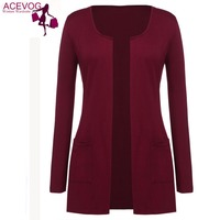 ACEVOG Women S O Neck Long Sleeve Open Front Casual Cardigan Blouse Office Loose Thin Cardigan