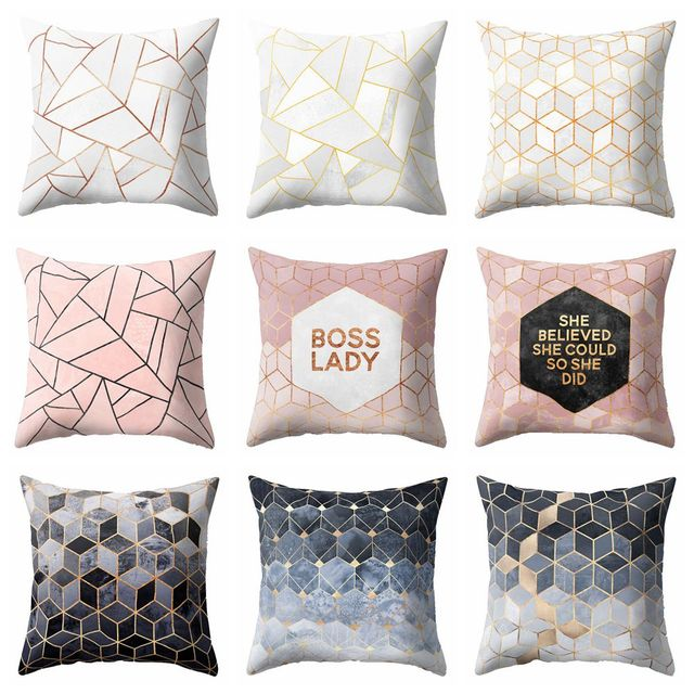 Nordic Style Geometric Cushion Cover Polyester Pillow Case Black And ...