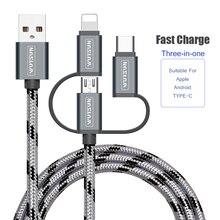 SB כבל טעינת מטען 3 ב 1 מיקרו USB כבל עבור אנדרואיד USB TypeC נייד טלפון כבלים עבור Samsung S9 עבור iPhone 6 7 8 XS X