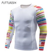 Men's comprehensive training running compression 3D printing stripes quick-drying T-shirt racing base layer MMA fitness sport цена 2017