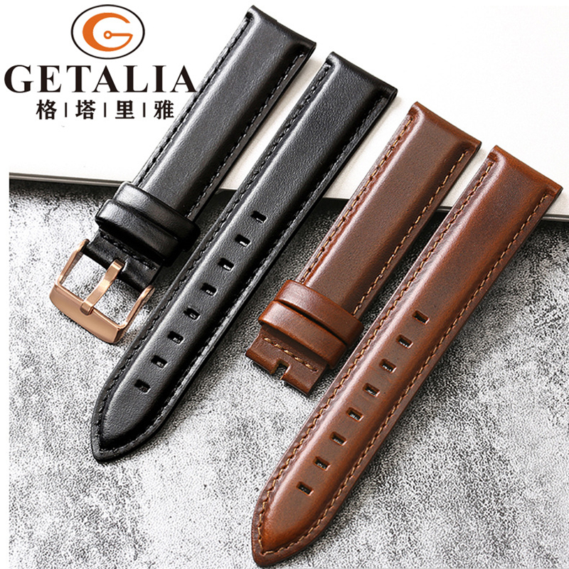 Top Genuine Leather Watchband for DW Watch Band  Strap Bracelet 13mm 17mm 18mm 19mm 20mm Stainless Gold buckle High-grade strap top layer cowhide genuine leather watchband for swatch men women watch band wrist strap replacement belt bracelet 17mm 19mm 20mm