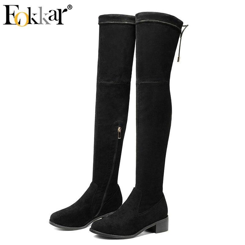 Eokkar 2020 Women Over Knee High Boots Women Shos Zipper Round Toe Sexy Black Women Boots Kid Suede Winter Boots Size 34-43