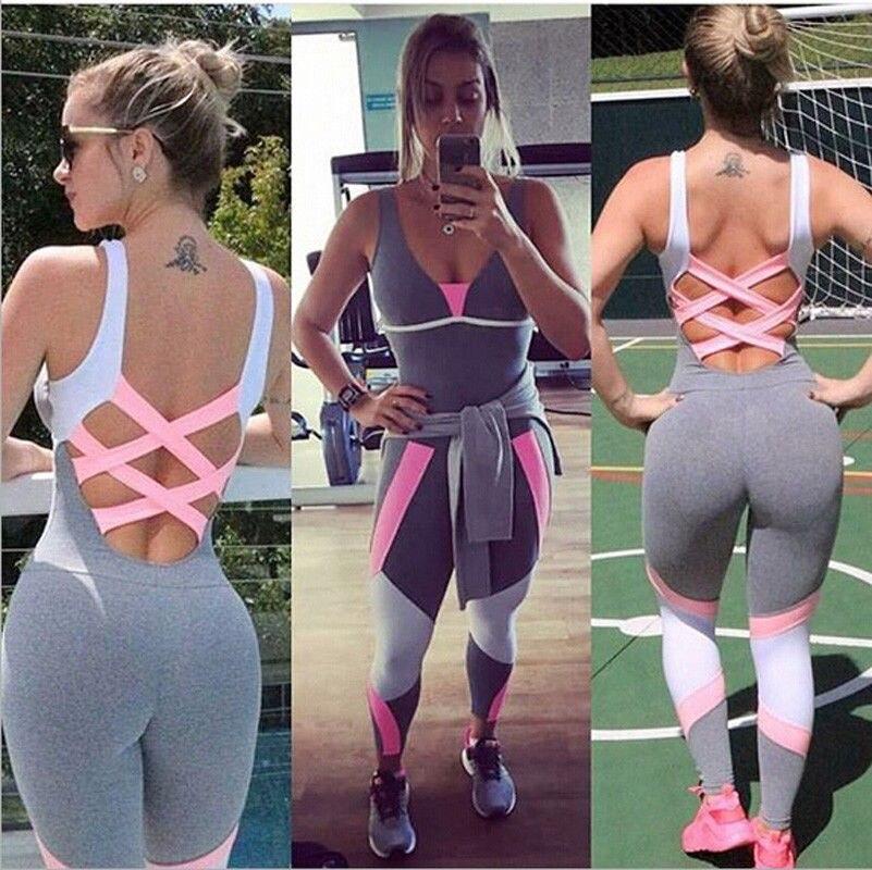 Moda conjunto de yoga feminino ginásio sporting playsuit roupas exercício superior macacão correndo roupas esportivas yoga macio leggings