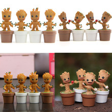 Mini Tree man Grootted Doll With Pot Toys Guardians Galaxy Baby Treeman Miniature Model Statue Toys Mini Action Figure Toys(China)