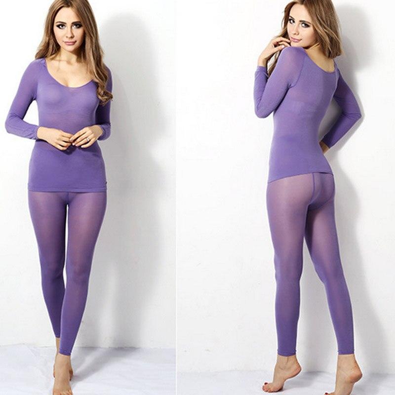 Winter Warm Women Slimming Thermal Underwear Ultrathin 37 Degree Heat Long Elastic Seamless Body Suit KNG88